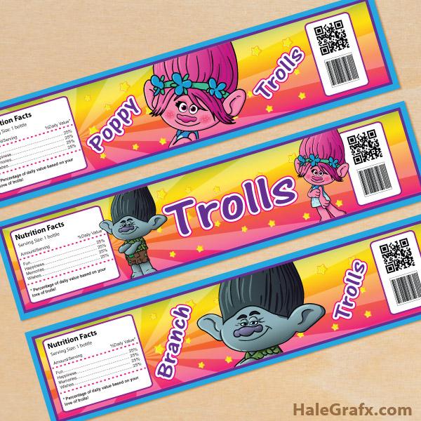 Free Printable Trolls Water Bottle Labels