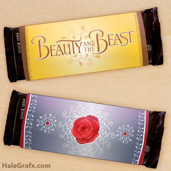 image about Free Printable Candy Wrappers known as Absolutely free Printable Natural beauty and the Beast Sweet Bar Wrappers
