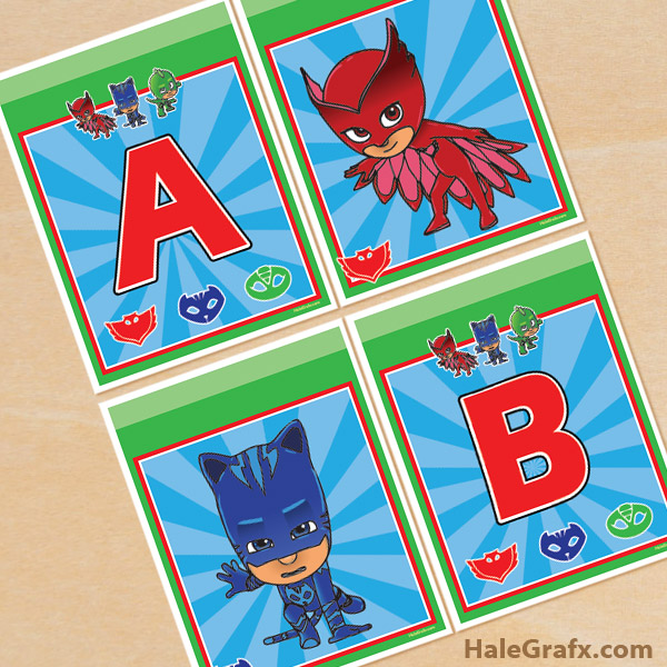 image about Pj Masks Printable Images identify Free of charge Printable PJ Masks Alphabet Banner Pack