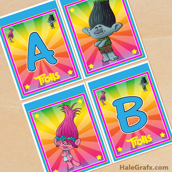 photo regarding Trolls Printable called Absolutely free Printable Trolls Alphabet Banner Pack