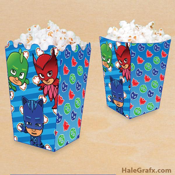 FREE Printable PJ Masks Popcorn Box