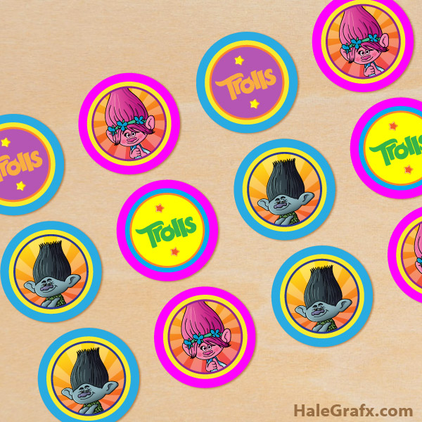 picture regarding Printable Trolls titled Absolutely free Printable Trolls Cupcake Toppers