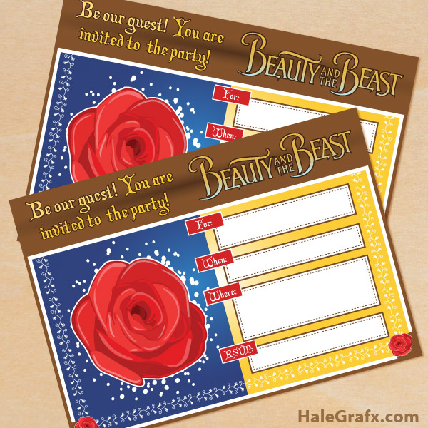 FREE Printable Beauty and the Beast Birthday Invitation