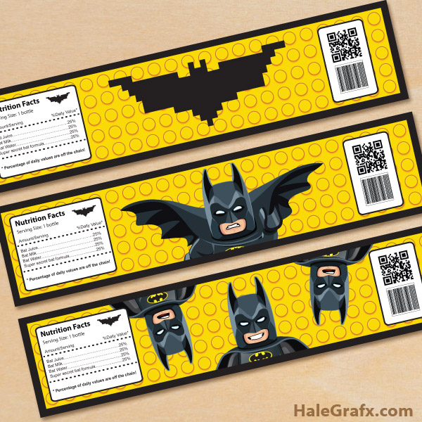Free Printable LEGO Batman Water Bottle Labels
