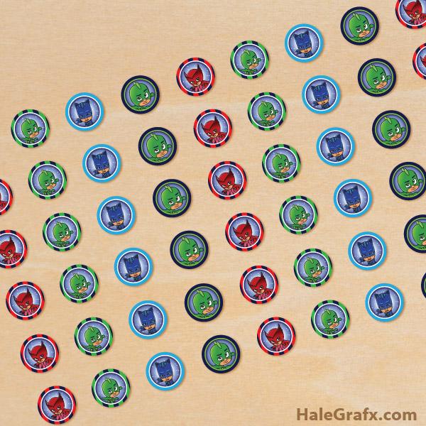 FREE Printable PJ Masks Hershey's Kisses Stickers
