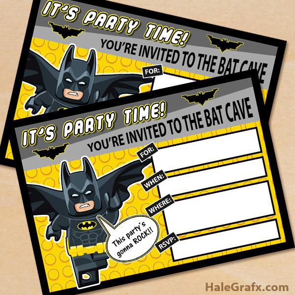 Gratifying image within free printable batman invitations