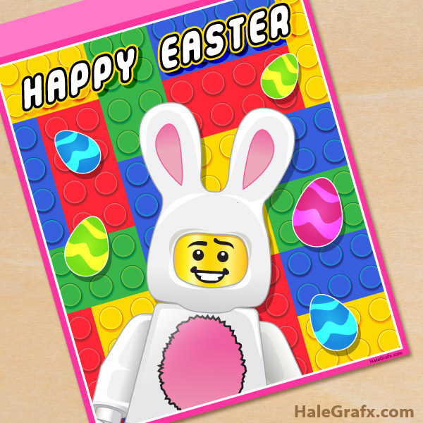photo relating to Lego Font Printable titled Cost-free Printable LEGO Easter Poster