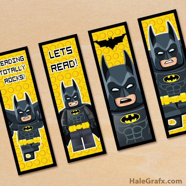 graphic relating to Lego Batman Printable called Cost-free Printable LEGO Batman Bookmarks