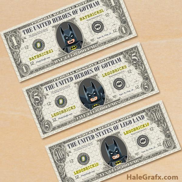 FREE Printable LEGO Batman Play Money