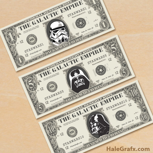 picture regarding Free Printable Play Money named Absolutely free Printable Star Wars Empire Engage in Dollars