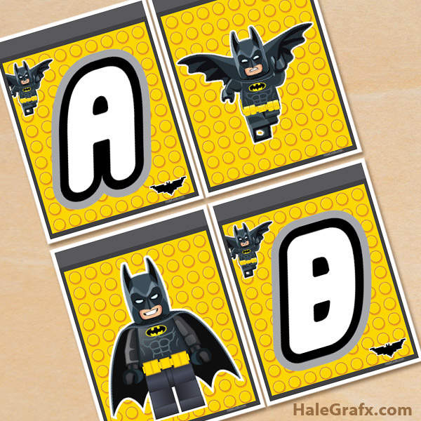 photograph about Batman Printable identified as Totally free Printable LEGO Batman Alphabet Banner Pack
