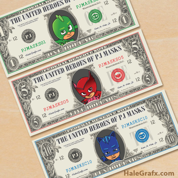 Toy Money To Print Out : Free printable pj masks play money