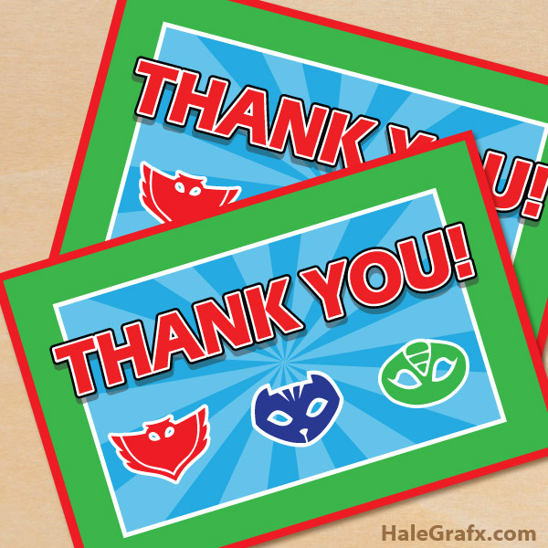 FREE Printable PJ Masks Thank You Card