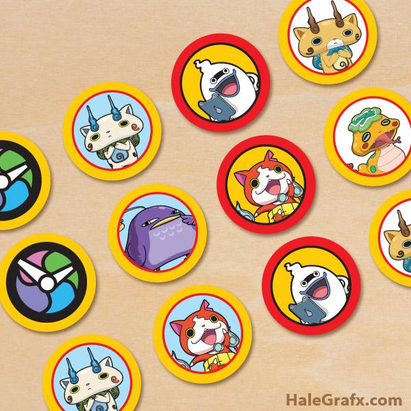 FREE Printable Yo-kai Watch Cupcake Toppers
