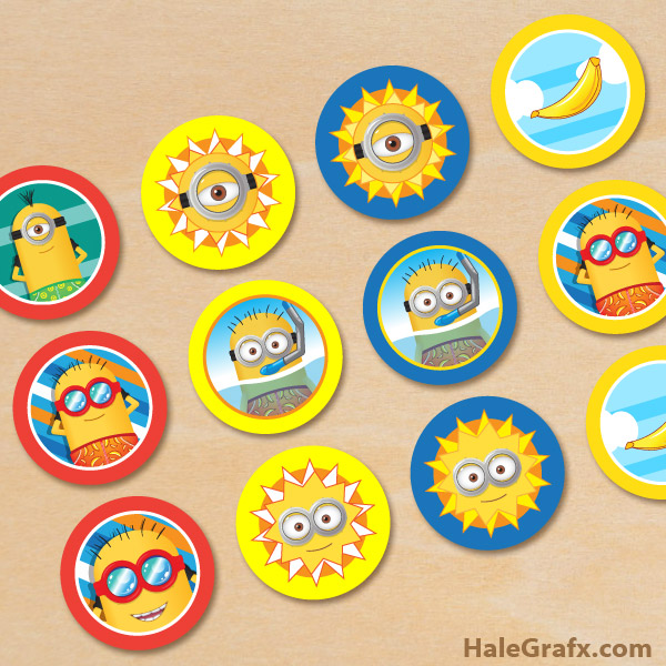 photograph relating to Minion Logo Printable named Cost-free Printable Summer time Minions Cupcake Toppers