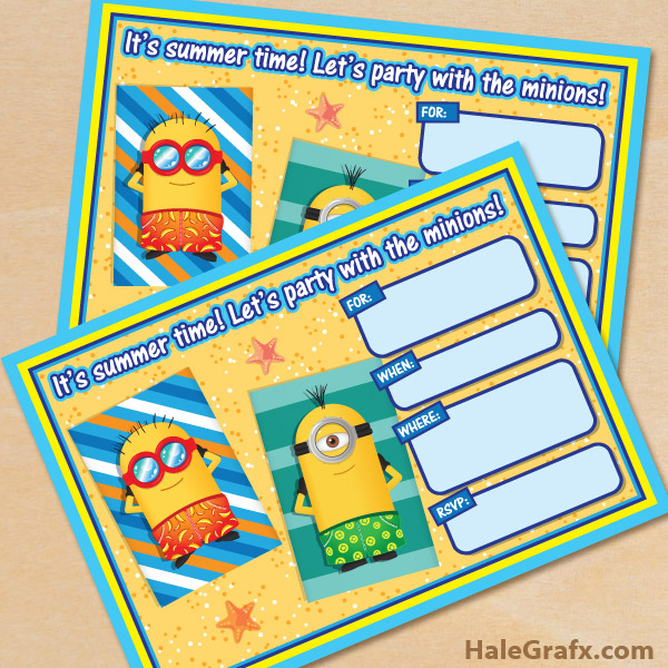picture regarding Free Printable Minion Invitations named No cost Printable Despicable Me Summertime Minions Invitation