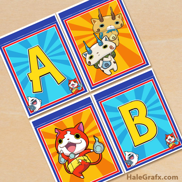 FREE Printable Yo-kai Alphabet Banner Pack