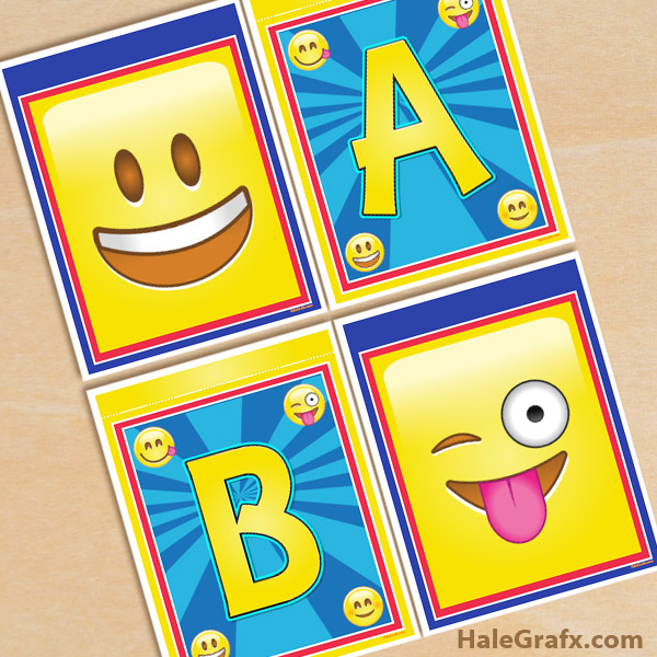 graphic about Free Printable Alphabet Banner identified as Free of charge Printable Emoji Alphabet Banner Pack