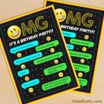 FREE Printable Emoji Birthday Party Invitation