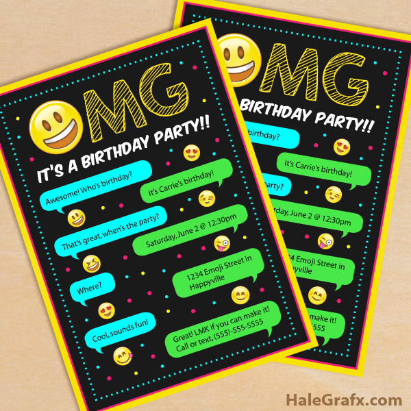 It is a picture of Printable Emoji Invitations intended for free printable