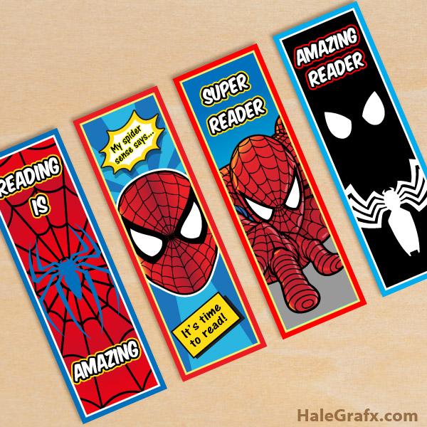 FREE Printable Spider-man Bookmarks