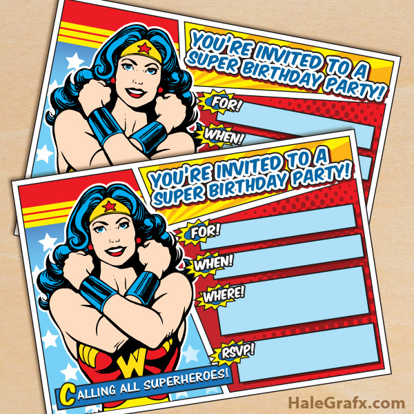 FREE Printable Wonder Woman Birthday Invitation