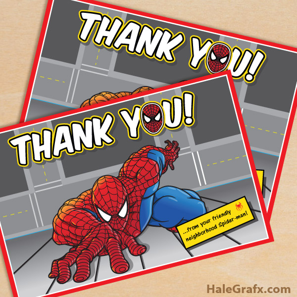 Free Printable Spider Man Thank You Card