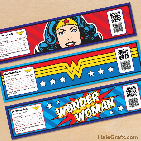 Free Printable Wonder Woman Water Bottle Labels