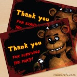 FREE Printable Five Nights at Freddy's Thank You Card