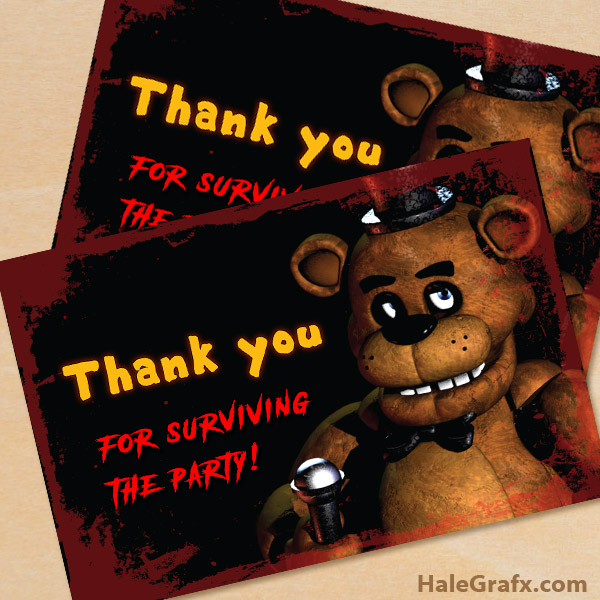 FREE Printable Five Nights At Freddys Thank You Card