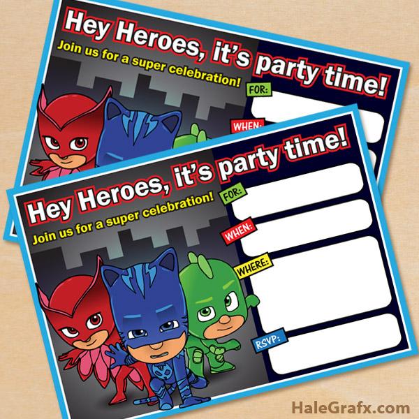 FREE Printable PJ Masks Birthday Invitation