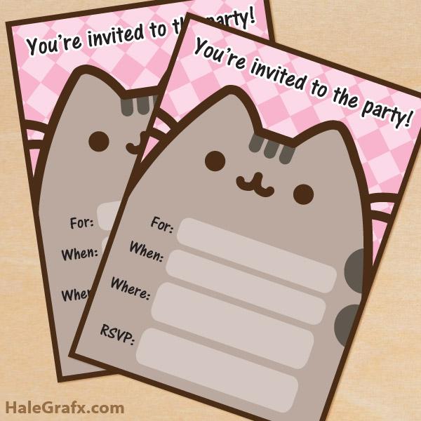FREE Printable Pusheen Birthday Party Invitation