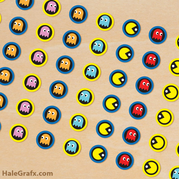 photo about Pac Man Printable titled Free of charge Printable Pac-person Hersheys Kisses Stickers