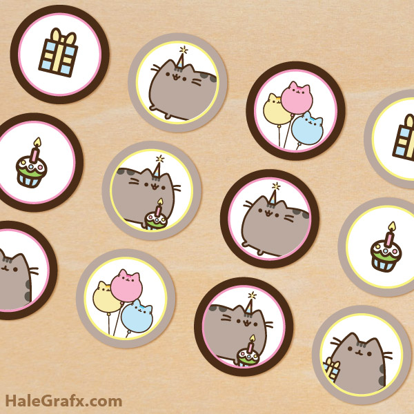 image relating to Pusheen Printable called Free of charge Printable Pusheen Cupcake Toppers