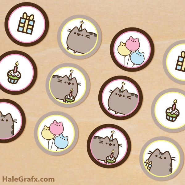 FREE Printable Pusheen Cupcake Toppers