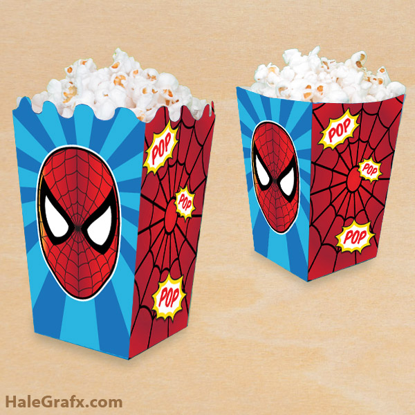 FREE Printable Spider-man Popcorn Box