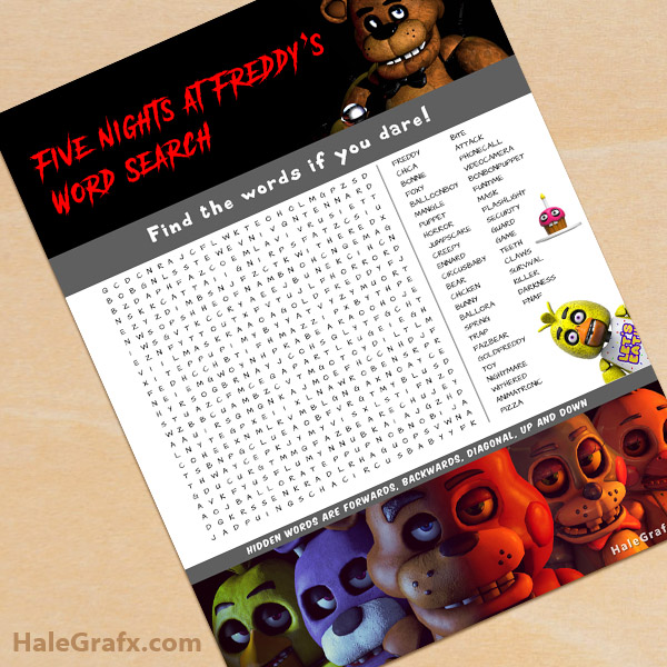 FREE Printable Five Nights at Freddy's Word Search