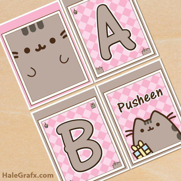 FREE Printable Pusheen Alphabet Banner Pack