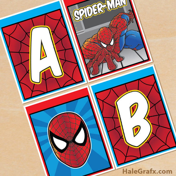 FREE Printable Spider-man Alphabet Banner Pack