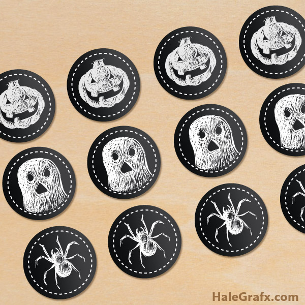 FREE Printable Chalk Halloween Cupcake Toppers