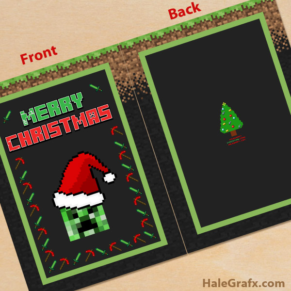 photograph regarding Printable Photo Christmas Card called Cost-free Printable Xmas Minecraft Greeting Card