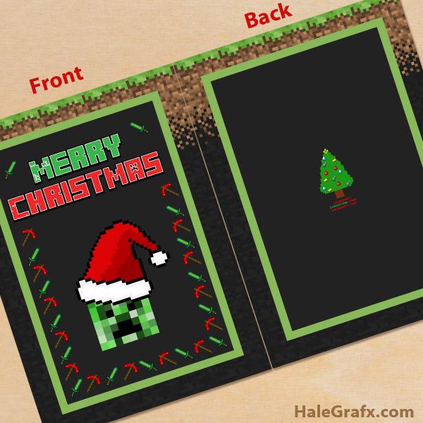 FREE Printable Christmas Minecraft Greeting Card
