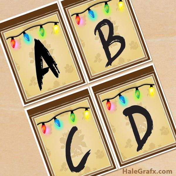 FREE Printable Stranger Things Lights Alphabet Banner Pack