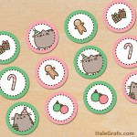 FREE Printable Christmas Pusheen Cupcake Toppers