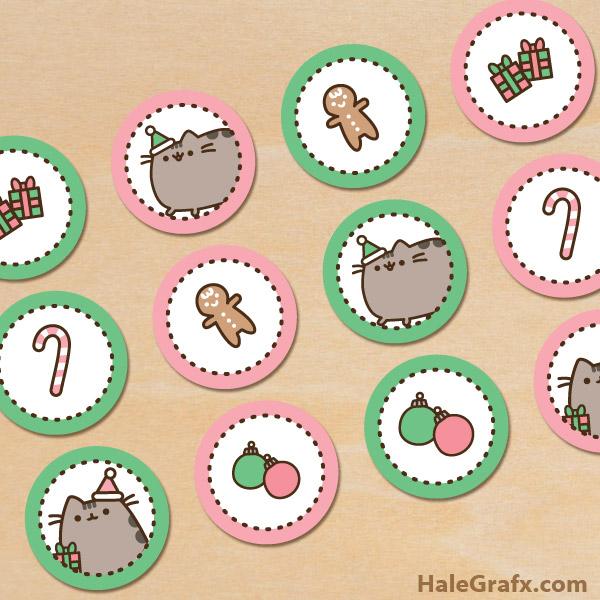 FREE Printable Christmas Pusheen Cupcake Toppers