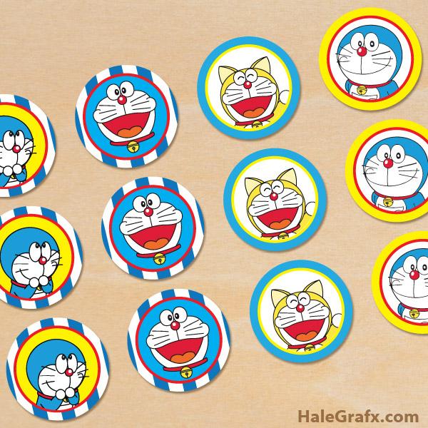 FREE Printable Doraemon Cupcake Toppers