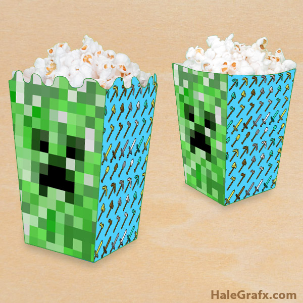 graphic about Printable Minecraft identify Free of charge Printable Minecraft Popcorn Box
