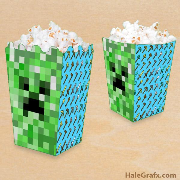 FREE Printable Minecraft Popcorn Box