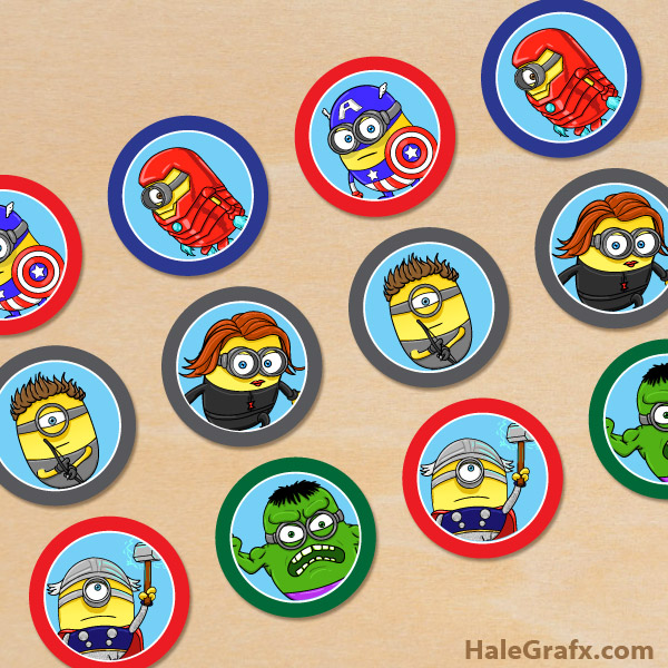 graphic regarding Minion Symbol Printable known as Free of charge Printable Minion Avengers Cupcake Toppers