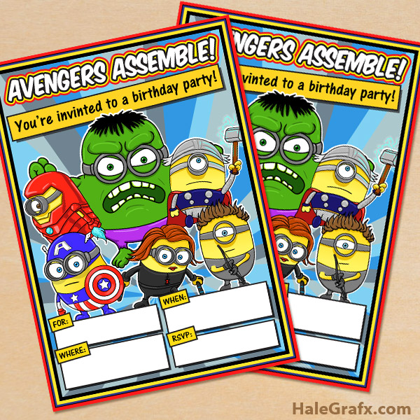 photo relating to Minions Printable Invitations named Absolutely free Printable Minion Avengers Celebration Invitation
